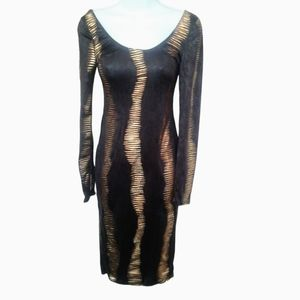 Ktoo USA black&gold fitted dress